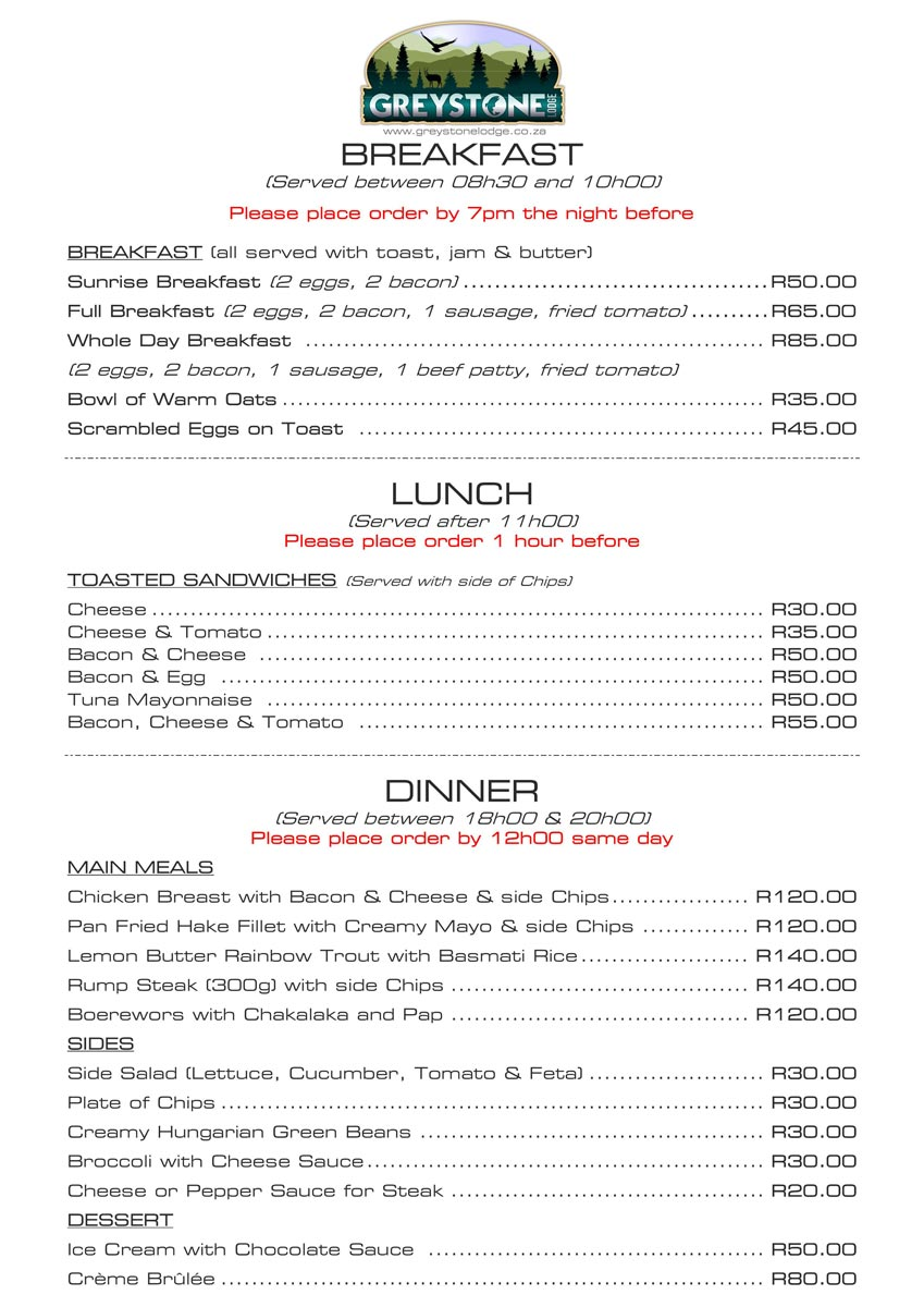 Greystone Lodge - Restaurant Menu